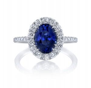 """Sapphire & Diamond """"Princess"""" Ring"""