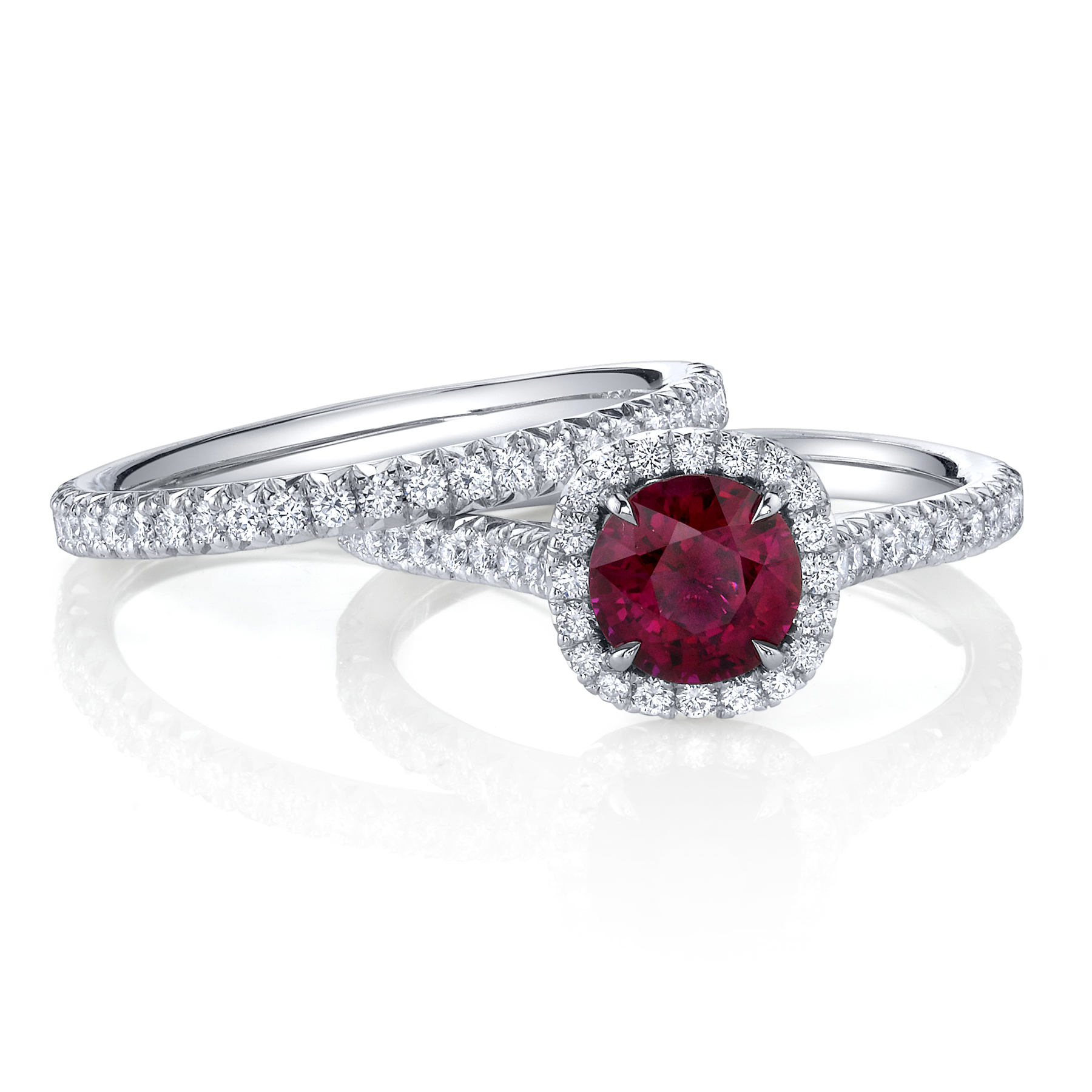 ruby and diamond wedding set from omi priv - Ruby Wedding Ring Sets
