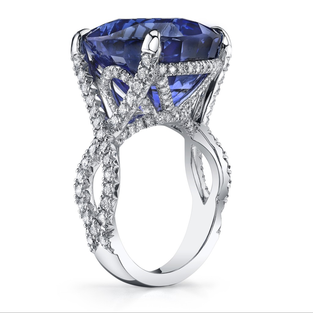 gold white blue basket ring open sapphire cocktail wire product style